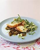 Chicken breast with fennel, cucumber & courgette salad & rocket