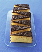 Orange almond cake with chocolate icing
