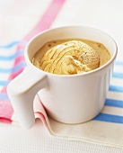 Coffee ice cream in white cup
