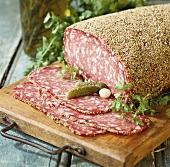 Salami with pepper crust (Rosette de Lyon) from France