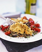 Aubergine bake with cherry tomatoes