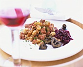 Corned beef with diced potatoes, onions & red cabbage
