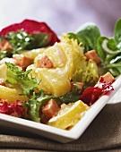 Kartoffelsalat mit Bierdressing und Leberkäse