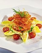 Tower of potato rosti, smoked salmon and salad