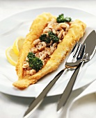 Breaded sole with shrimps and parsley