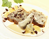 Ofenschlupfer (bread pudding) with grapes, nuts & Riesling whip