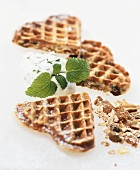 Muesli waffles with kefir and lemon balm whip
