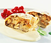 Apricot and pear strudel with vanilla quark sauce