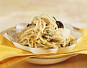 Ribbon pasta with lemon and olives