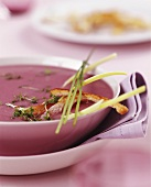 Red onion soup with cress and strips of bread