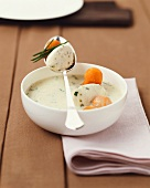 Herb soup with dumplings and carrots