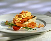 Zander fillet with tomatoes and scrambled egg