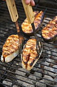 Salmon cutlets on a barbecue
