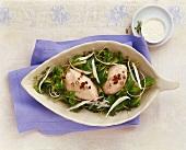 Corn salad with ham dumplings