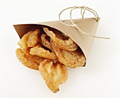 Dried pears in paper bag