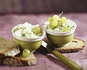 Camembert spread with grapes and farmhouse bread