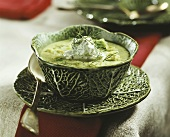 Savoy cabbage soup with dill cream