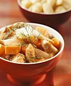 Turkey ragout with pumpkin, spring onions and dill
