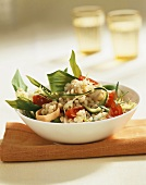Wheat salad with ramsons (wild garlic) and tomatoes