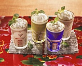 Frozen lime cream with mint in four glasses