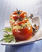 Braised tomatoes, stuffed with chicken forcemeat