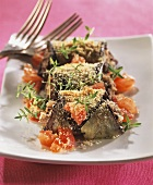 Baked aubergine roulades with tomatoes