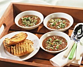 Gazpacho, toast and garlic bread