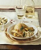 Pollo al limone con contorno (lemon chicken with beans)