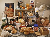 Still life with dishes, foods and props from America