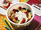 Fruit salad with cream yoghurt for schoolchildren