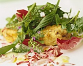 Salad leaves with deep-fried radicchio and dandelion