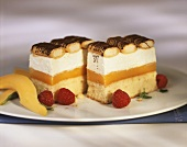 Cream slices with mango cream, cream and sponge finger