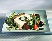 Tuna terrine, with salad garnish