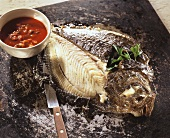 Whole turbot, baked in the oven