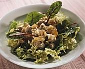 Salad leaves with whelks