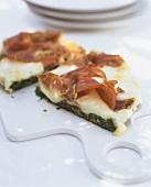 Spinach frittata with Parma ham and Taleggio