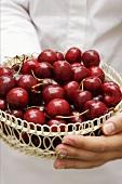 Hands holding basket of cherries