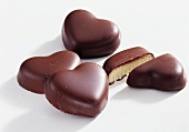 Marzipan hearts coated with couverture