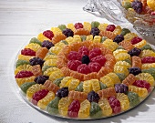 Colourful jelly sweets on plate