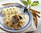 Palatine style liver dumplings with mashed potato & sauerkraut