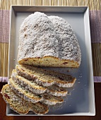 Coconut stollen with candied fruit