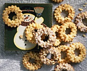 Almond rings with Christmas decoration