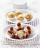 Berry muffins and orange muffins