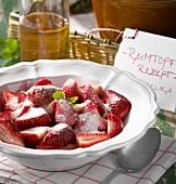 Sugared strawberries for Rumtopf (fruit and sugar in rum)