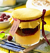 Layered melon and raspberry jam