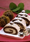 Chestnut roulade with cream, cut into pieces