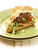 Mini-burger in flatbread