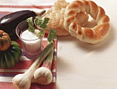 Yoghurt, garlic, tomatoes, aubergine and flatbread