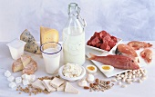 Still life with protein-rich foods