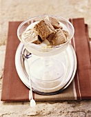 Gianduiotto (Gianduja ice cream on bed of cream, Italy)